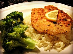 Parmesan-Red Pepper Fish- This spicy, crispy and flaky fried fish was a hit at my dinner table! I served it on a bed of rice, a twist of lemon and a side of seasoned broccoli. I seasoned with Cajun seasonings and it was the perfect meal.