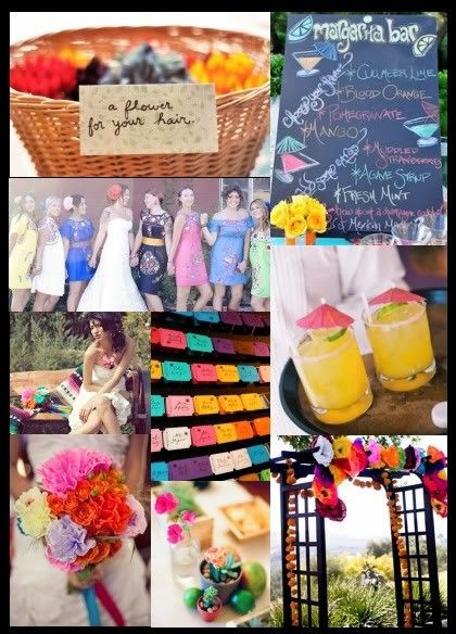"""i love the basket for the reception that offers """"a flower for your hair for dancing"""" also the margarita bar but maybe just 2 signature margaritas.. prickly pear and strawberry.. and no chalk board but calligraphy in a spanish southwestern frame."""