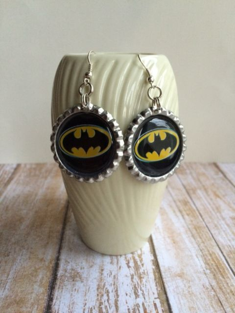 Batman Earrings Hand Crafted Batman Bat Signal Earrings Batman Jewelry | eBay