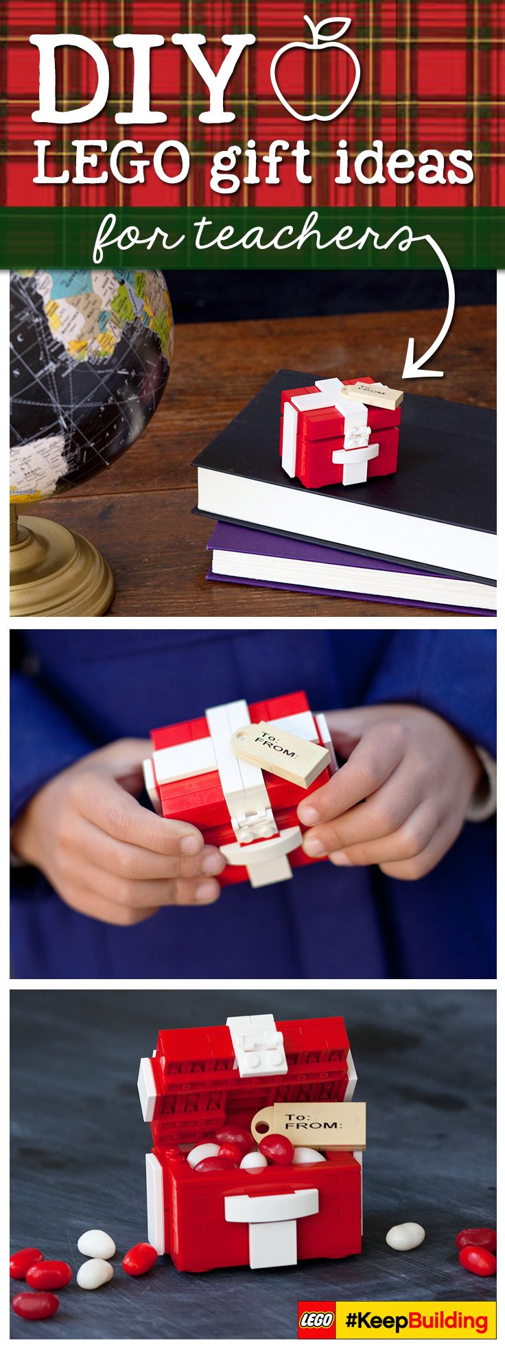 Inspire your LEGO builder to make their own LEGO gift box for the holidays this year! Fill with something small- no wrapping!