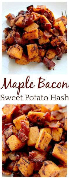 This is seriously the perfect brunch recipe! This Maple Bacon Sweet Potato Hash recipe is a sweet and savory dish that goes great at breakfast, brunch, OR dinner! It is sure to be a favorite family recipe!