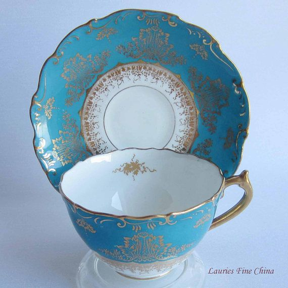 Coalport 9301 Turquoise Band with Delicate Gold Details Bone