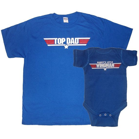 Top Dad and Daddy's Little Wingman New FatherT Shirt and Matching Infant Bodysuit Set First Father's Day Funny Baby Shower Gift - Royal Blue. $37.50, via Etsy.