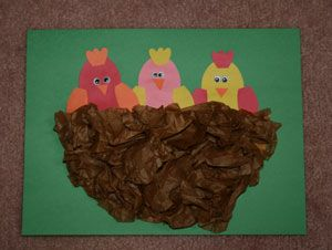 Baby Birds Craft - we have a mommy bird building her nest in one of our awnings and Sarah thinks it's amazing, I think we will have to do this one.