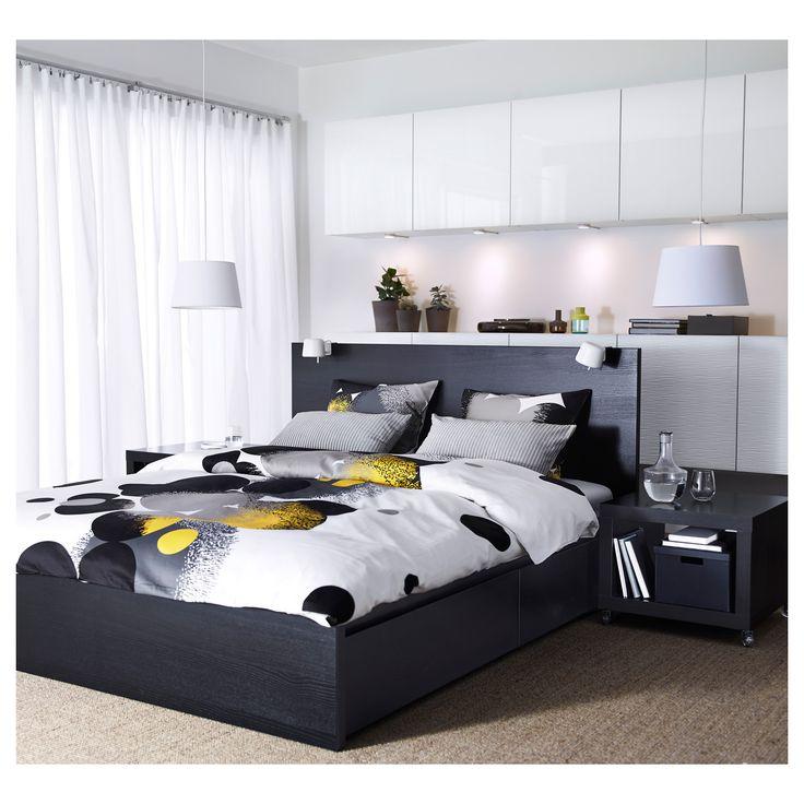 malm high bed frame4 storage boxes black brown lnset - High Bed Frame Bedroom Furniture