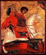 Icon of St. George and the Dragon  by Anonymous Artist