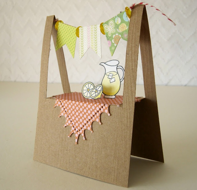 Great idea that could be adapted to all sorts of other designs. Folds flat for postage - hooray! Notable Nest: Lemonade Stand Banner Card