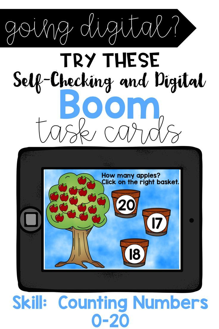 Counting Apples Numbers from 0-20 Digital BOOM Cards