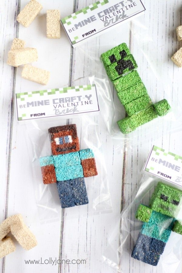 Minecraft Valentines, with a free printable tag! |lollyjane.com