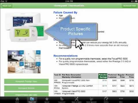 Nice HVAC Flat Rate Price Book - iPad Application Overview