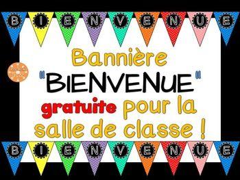"""Bannière de """"BIENVENUE"""" pour la salle de classe. GRATUIT!"""