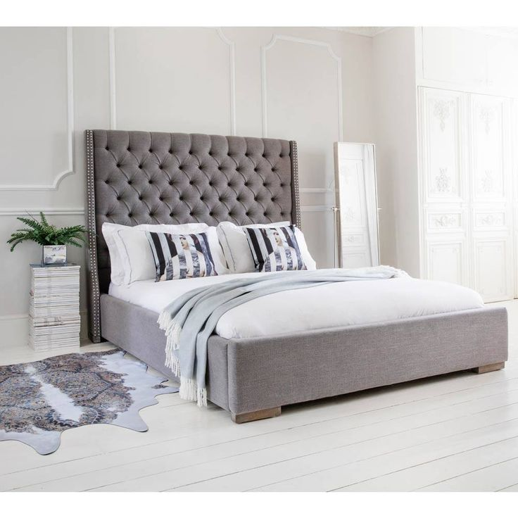 Studs & Buttons Grey Upholstered Bed | Luxury Bed