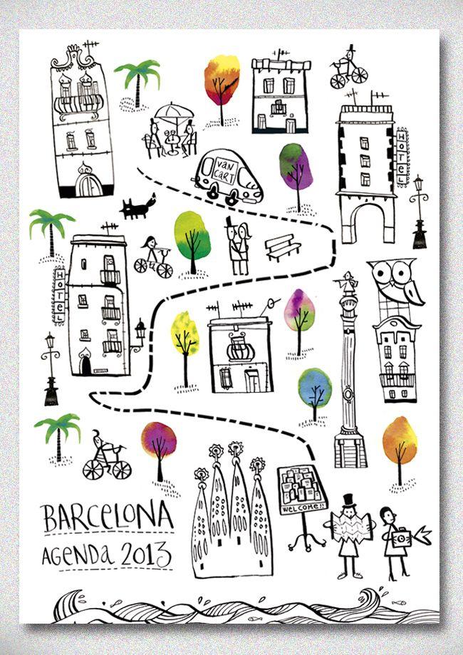 Barcelona for Vancart agendas 2013 - amaia arrazola illustration