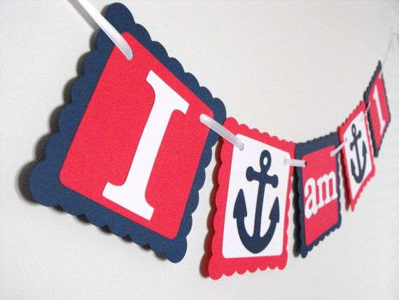 I am 1 High Chair Banner, Happy Birthday Banner, Anchor Theme, Nautical Birthday, Boy Birthday, First Birthday Banner on Etsy, $10.00