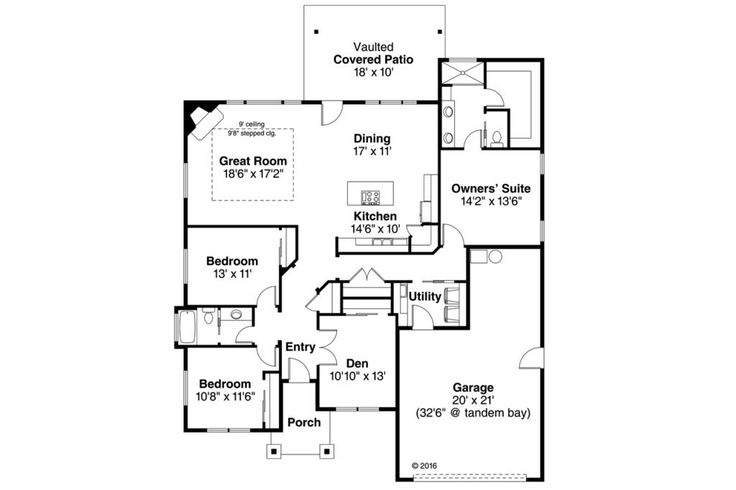 Craftsman Style House Plan - 3 Beds 2.00 Baths 2015 Sq/Ft Plan #124-1031 Floor Plan - Main Floor Plan - Houseplans.com