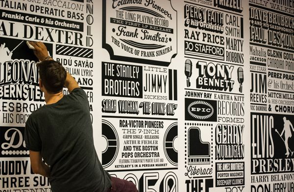 The Sony Music Timeline celebrates 125 years of musical history covering almost 150 square meters of wall space in Sony's Derry Street headquarters.