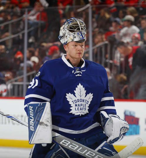 NEWARK, NJ - JANUARY 06: Frederik Andersen #31 of the Toronto Maple Leafs skates against the New Jersey Devils at the Prudential Center on January 6, 2017 in Newark, New Jersey. The Maple Leafs defeated the Devils 4-2. (Photo by Bruce Bennett/Getty Images)