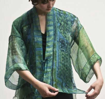 silk organza kimono was printed using mx dyes and a deconstructed silk screen | dianne koppisch hricko