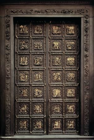 "Florence, Italy.  Door to the Baptistery, christened by Michelangelo as the ""Gates of Paradise""  None of my photos look like this!"