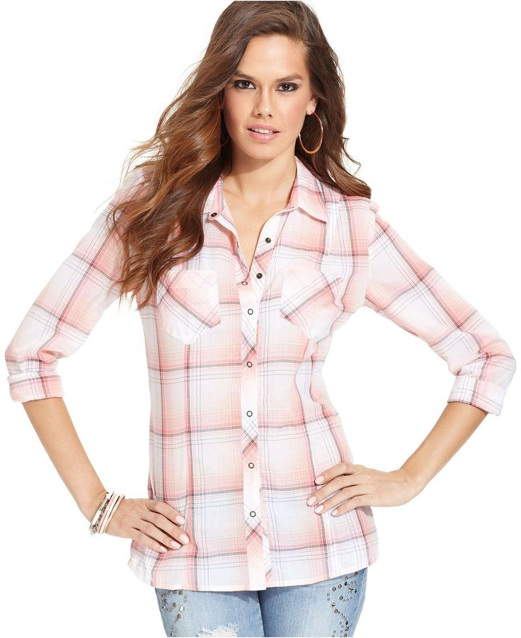 GUESS Top, Long-Sleeve Plaid Blouse - Tops - Women - Macy ...