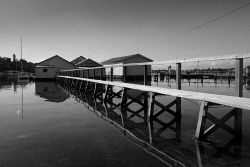 TWA-0049018 © WestPix Boatsheds at Peppermint Grove shot on Fujifilm X-Pro2 with XF 15-55 f/ 2.8 lens at 1/160 sec at f/16, ISO 200 on the black and white film simulation mode. Pic Mogens Johansen, The West Australian