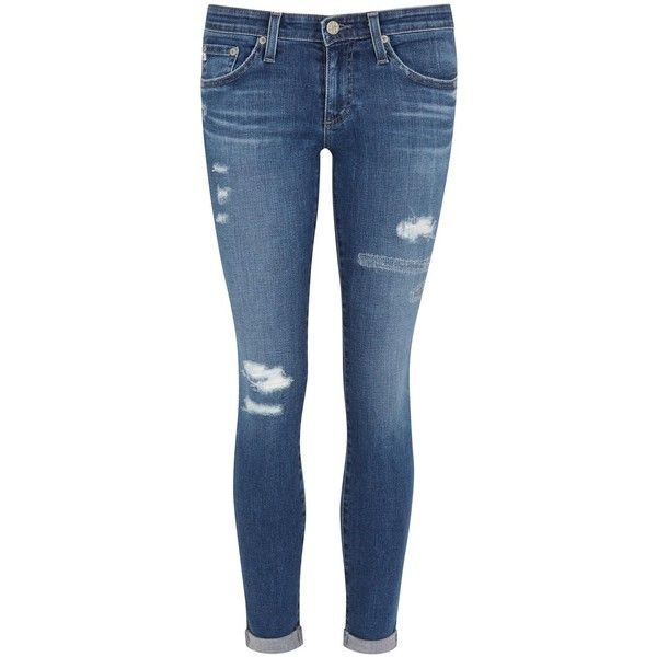 Womens Skinny Jeans AG Jeans Stilt Roll-Up Blue Distressed Skinny... ($115) ❤ liked on Polyvore featuring jeans, pants, bottoms, jeans/pants, skinny jeans, destructed skinny jeans, blue skinny jeans, destructed jeans and rolled up jeans