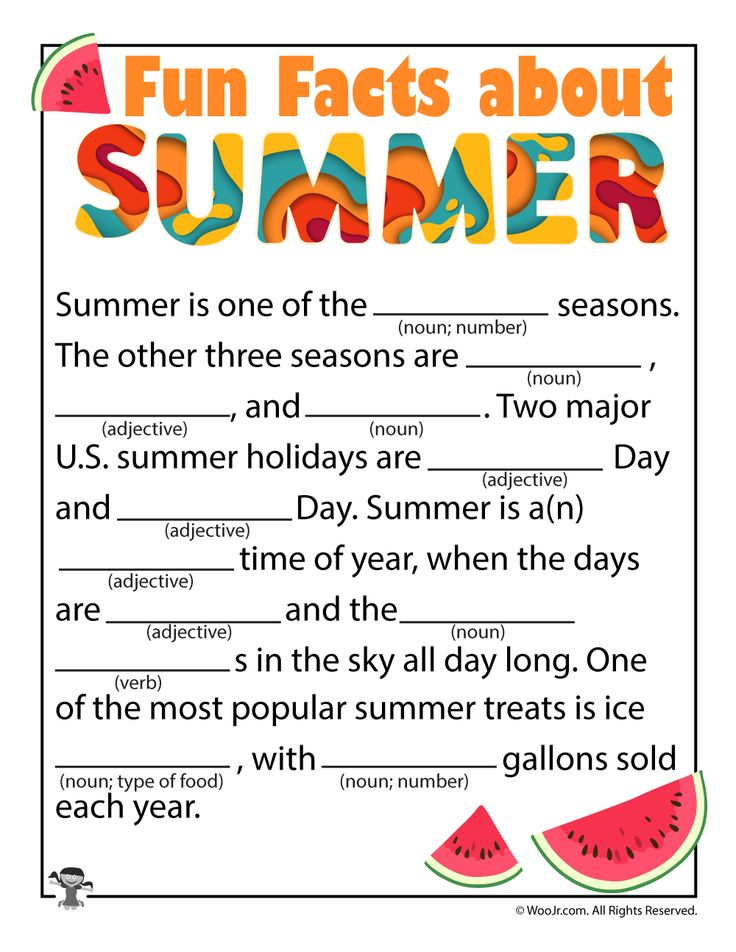 This is a graphic of Irresistible Summer Mad Libs Printable