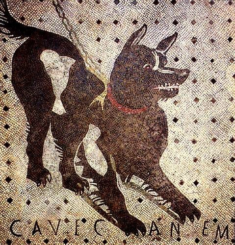 "Cave Canem mosaic (Latin for ""Beware of Dog"") on the floor of the entrance hall to the House of the Tragic   Poet, Pompeii"