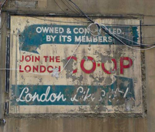 London Likes It! Great Co-op ghostsign from the History of Advertising Trust. Frederic Street, London E17, 2009.
