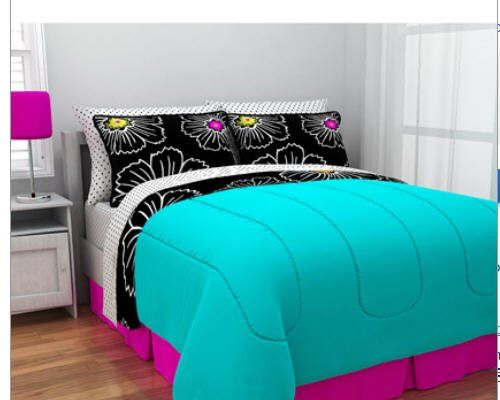 Amazon.com: Hot Pink, Teal & Black Teen Girls Full Comforter Set (8 Piece Bed In A Bag): Home & Kitchen
