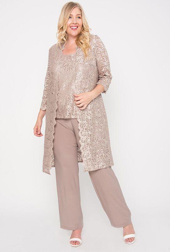 02d60319927 R M Richards Plus Size Mother of the Bride Pant Suit Duster Jacket ...