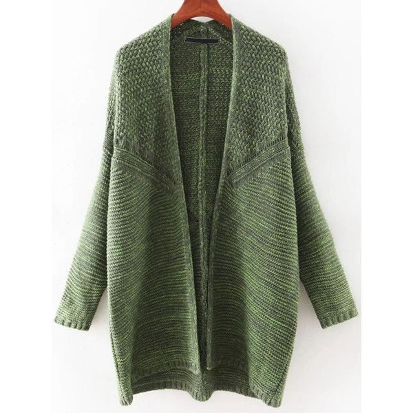 SheIn(sheinside) Green Bat Sleeve Long Cardigan ($31) ❤ liked on Polyvore featuring tops, cardigans, long green cardigan, batwing sleeve tops, green top, long cardigan and bat sleeve cardigan
