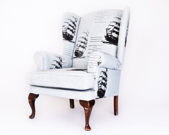 this bespoke armchair was professionally reupholstered, the fabric was hand dyed and printed.