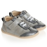Grey Two Tone Lace Up & Velcro Leather Trainers