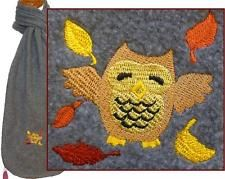 Happy Autumn Owl Scarf Gray Warm Fleece Fall Leaves Nocturnal Bird Monogram NWT!