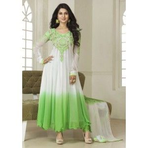 Jennifer Winget (Kumud) White and Green Anarkali Suit