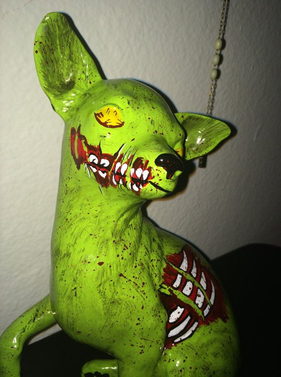 pet cemetary style dead chihuahua statue adorable and spooky halloween decor