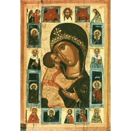 Icon Of The Virgin Of The Tenderness Canvas Art - (18 x 24)