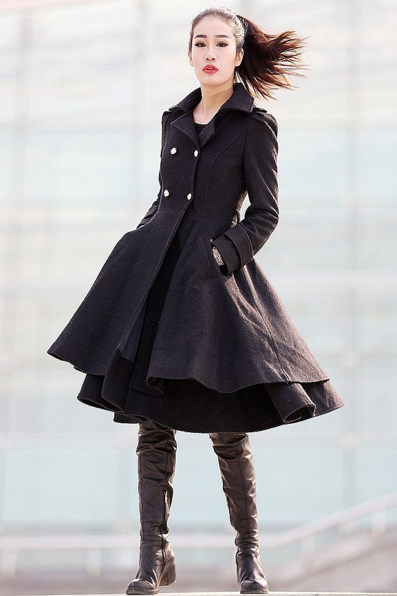 Black Winter Coat - Layered Double Breasted  BOUGHT