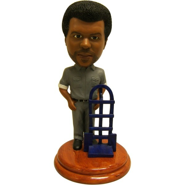 Craig Robinson Darryl Philbin Bobblehead  Meet Darryl, one of the newest members of The Office bobbleheads staff. Standing approximately 7'' tall, the limited edition Darryl bobblehead shows Dunder Mifflin's warehouse foreman with his trusty dolly.
