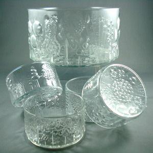 Image of Vintage Iittala Oiva Toikka FLORA Crystal Glass Bowl Set $120.00 designed by Oiva Toikka for Iittala Nuugajarvi Wartsila in 1963.