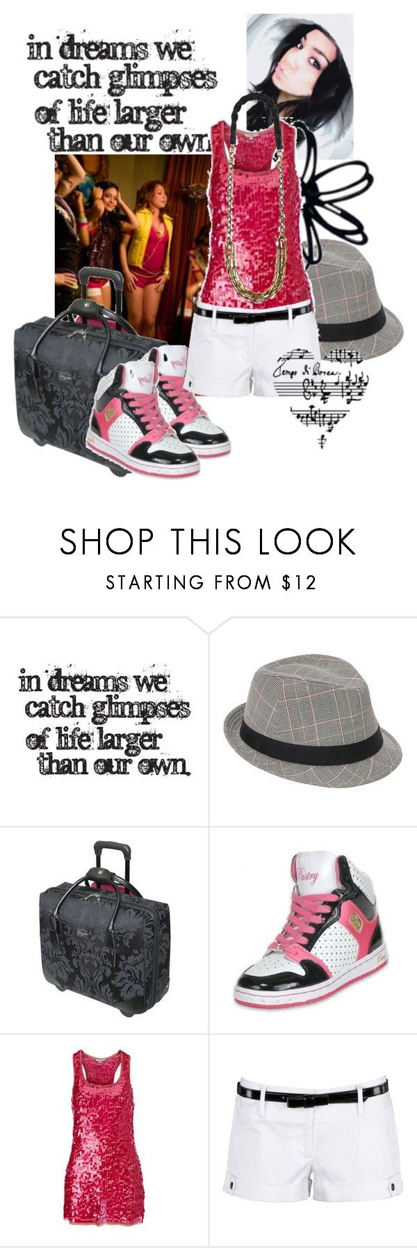 """on tour!"" by flawlessy ❤ liked on Polyvore featuring Ecko Unltd., Tripp, H.I.P., J Dauphin, babyv, high school musical, sneaker night, hip hop, vanessa hudgens and luggage"