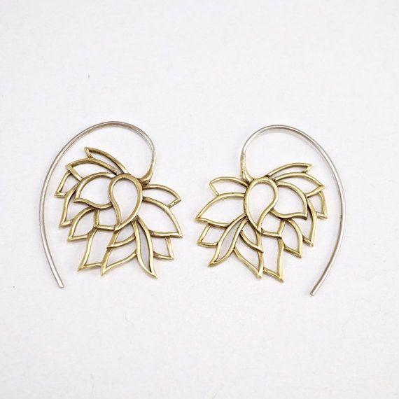 Lotus Earrings  Hoop Earrings  Tribal Earrings  by Zephyr9 on Etsy