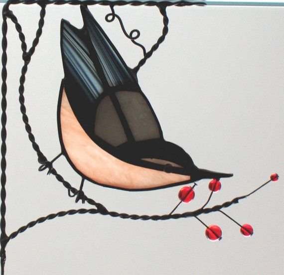 Nuthatch  bird/ stained glass window corner by GLASSCORNER on Etsy, $30.00