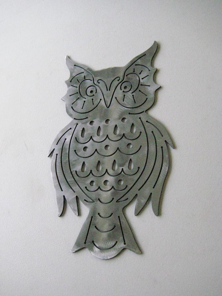 Retro Owl Plaque Silver Clear-Coated Steel Handmade Custom Metal Art CNC Plasma Cut. $36.00, via Etsy.