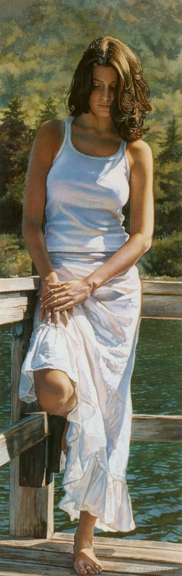 SSteve Hanks art de l'aquarelle. = Steve Hanks est d'abord et avant tout un peintre de la figure. Ses aquarelles sont infusées avec émotion et une sorte de poésie formé par la lumière et de l'ombre dans ses compositions