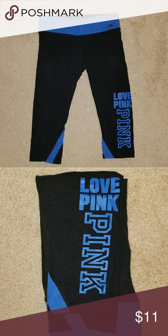 VS pink yoga capris Gently worn. Some cracks in the design pictured above. Lots of life left in these. PINK Victoria's Secret Pants Capris