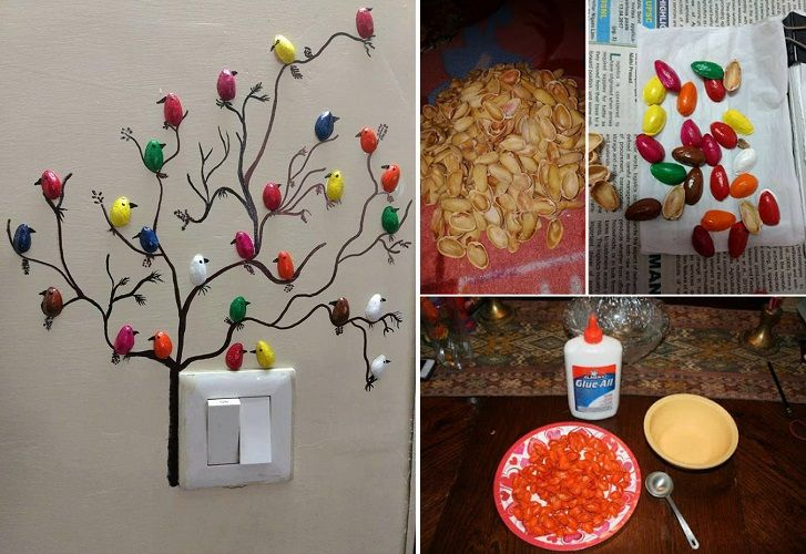 DIY Pista Shell Bird For Wall Decoration