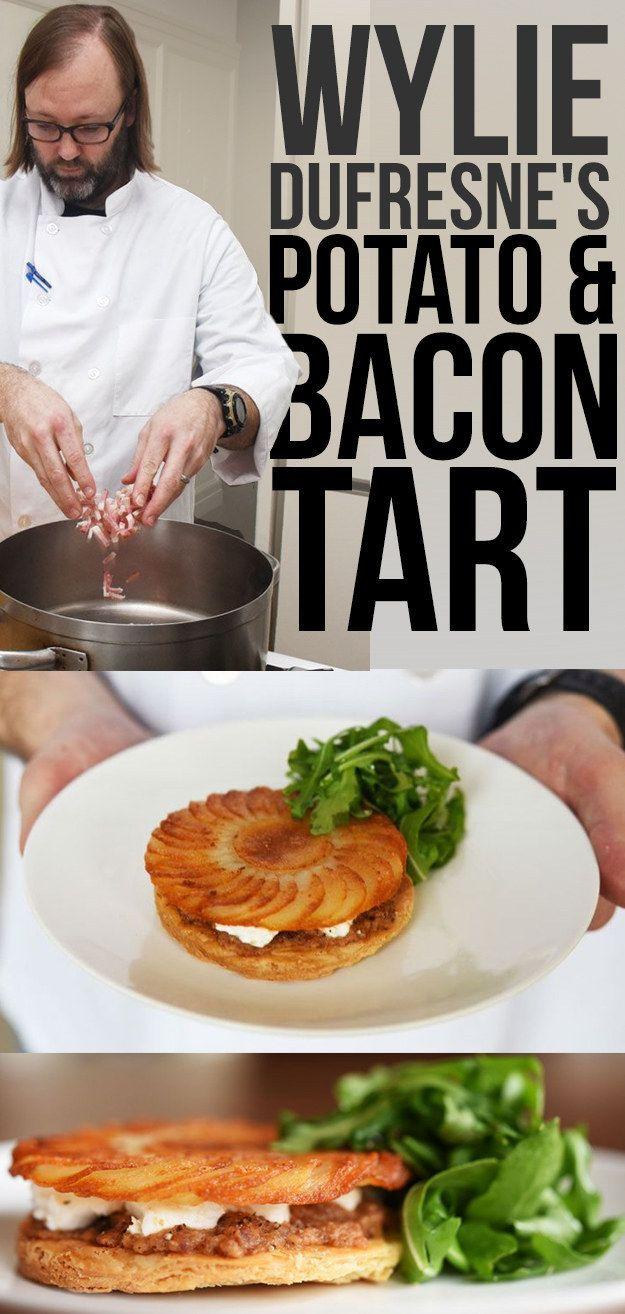 Potato, bacon, and goats cheese tart (the bacon jam sounds very tasty!)