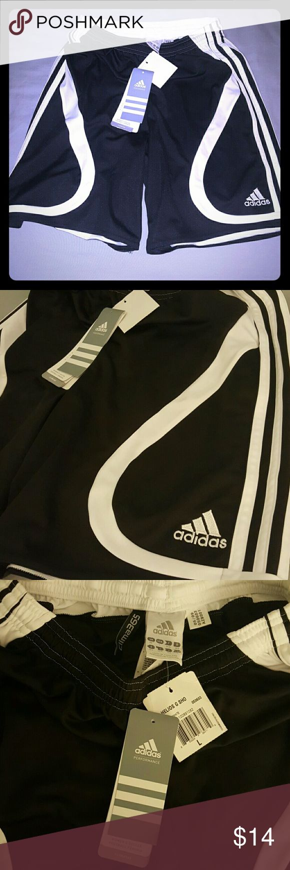 Adidas soccer shorts clima365 large black white Brand new adidas soccer shorts large black white clima365 tags attached. Great deal comfortable active shorts. Good for working out or just stylish. Sold as is please check out all our listings thank you for looking adidas Shorts